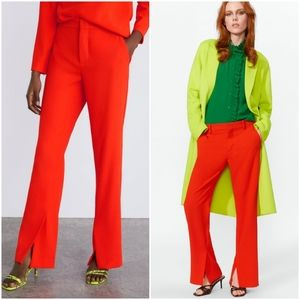NWOT Zara side vent orange trousers